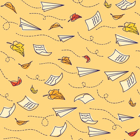 Seamless pattern with airplanes. Back to school. Vector illustration Vector