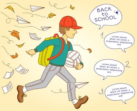 Boy go to school. Vector illustration. Autumn leaves Vector