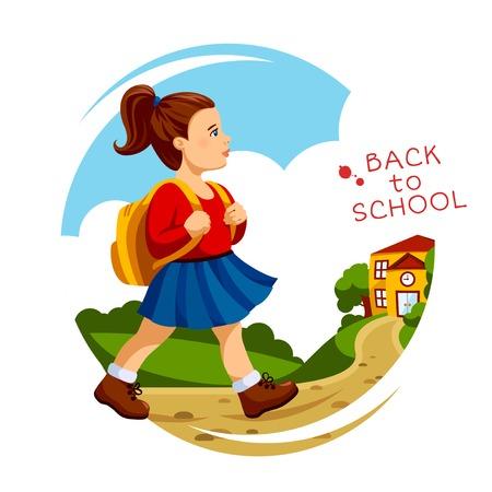 Vector illustration of school girl going to school in the morning. Illustration