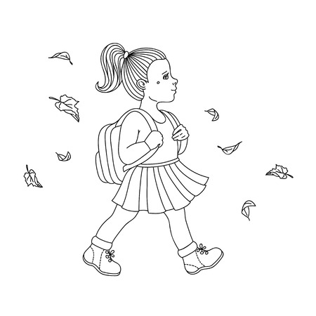 Vector illustration of school girl going to school in the morning. Vector