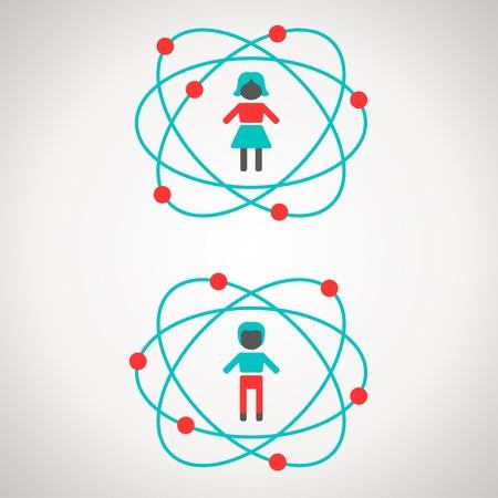 illustrazione uomo: Illustrazione vettoriale. Uomo e donna figure all'interno atomi. Vettoriali