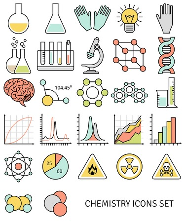 toxicology: Modern concept. Vector illustration. Science and education elements. Chemical test tubes icons. Illustration