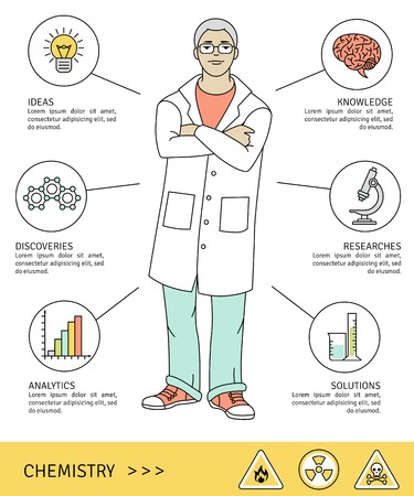 Vector illustration. Scientist with flat line icons.