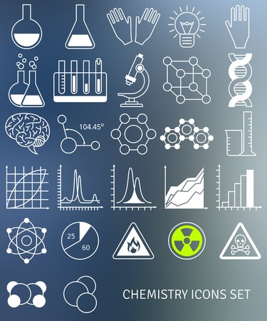 Vector illustration. Science and education elements. Chemical test tubes icons.