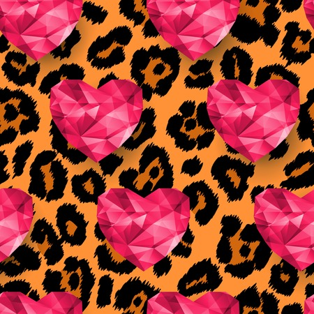 animal print background: Animal print, snow leopard texture. Polygonal hearts. Illustration