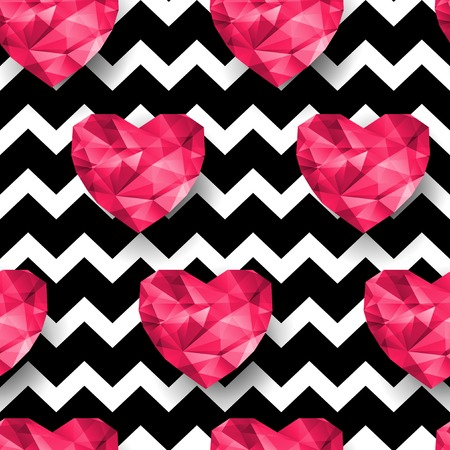 Chic vector seamless patterns tiling.  Chevron print. Polygonal hearts. Vector