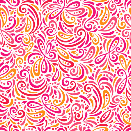 Endless texture can be used for printing onto fabric and paper or scrap booking. Curls and dot shape. Vector