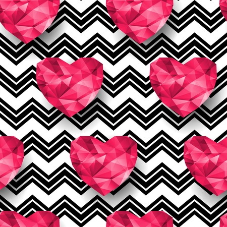 Chic vector seamless patterns tiling.  Polygonal hearts.  Vector