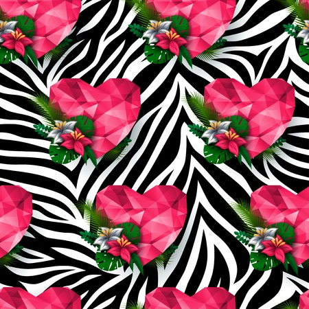 zebra print: Animal print, zebra texture. Polygonal hearts and flowers. Endless texture can be used for printing onto fabric and paper or scrap booking.