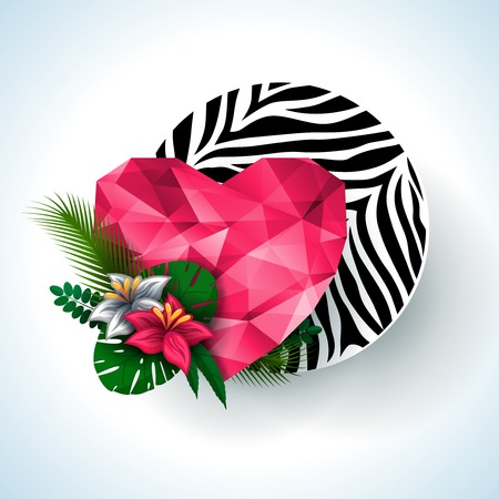 Polygonal heart and flowers. Can be used for prints or scrap booking. Nature elements. Vector