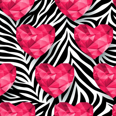 african fabric: Animal print, zebra texture. Polygonal hearts. Endless texture can be used for printing onto fabric and paper or scrap booking.