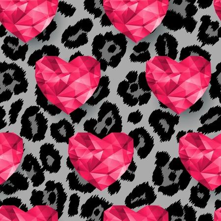 Animal print, snow leopard texture. Polygonal hearts.  Vector