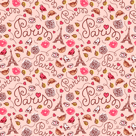 in french: Seamless Paris pattern. Hand drawn illustration. Paris symbols.