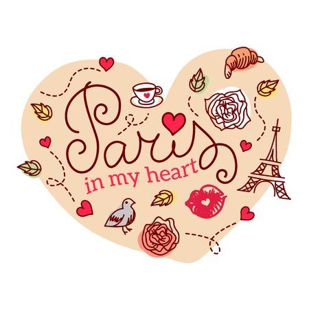 rouge: Paris symbols. Vector illustration.  Hand drawn Eiffel tower.