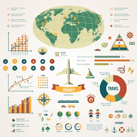 Travel infographics with data icons and elements. Vector illustration in vintage colors. Earth. Vector