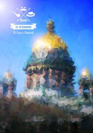 palacio ruso: San Petersburgo, Rusia. Ilustración del vector. Low-poli estilo colorido. Fondo abstracto poligonal. Diseño retro etiqueta corona de laurel con elementos inconformista y la cinta. Vectores