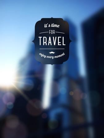 unfocused: City blur unfocused background, design template. Travel typographic label.