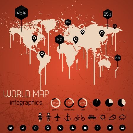 paint drips: World map drawn with paint. Drips. Vector Illustration. Illustration