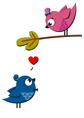 Cute pink and blue birds fall in love isolated on white. Vector Illustration for lovely design. Nice background. I love you card. Vector