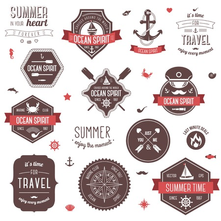 Summer and traveling collection. Vector illustration. Marine symbols. Vector