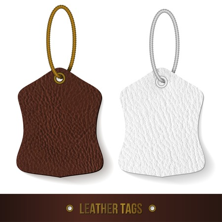 Leather tags set. Skin texture. Vector illustration. Vector