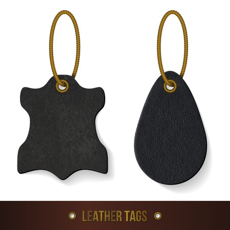 luggage tag: Leather tags set. Skin texture. Vector illustration.