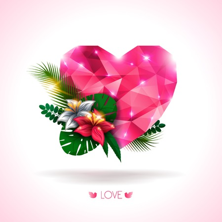Pink origami heart with natural elements- flowers and leaves. Abstract polygonal heart. Love symbol. Lights and pink sparkles. Low-poly colorful style. Vector