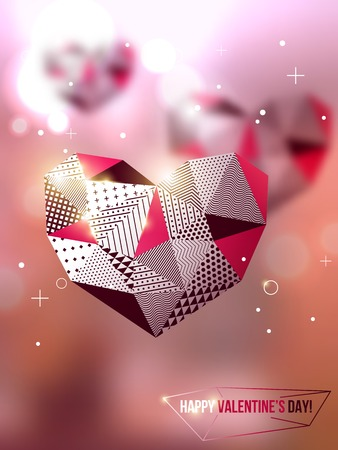 Vector illustration. Blurred background with lights. Valentines day abstract background. Invitation or greeting card template. Geometric shapes. Wallpaper. Vector