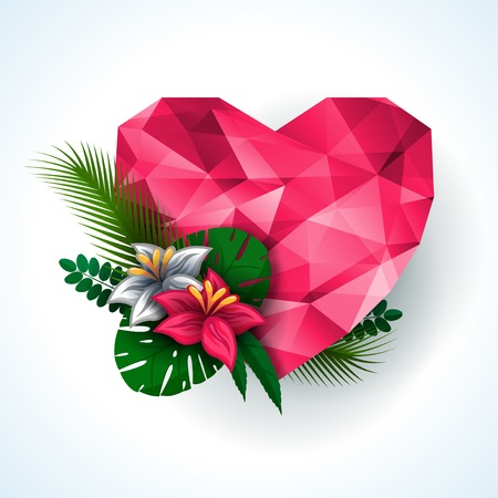 Vector illustration. Pink origami heart with natural elements- flowers and leaves. Abstract polygonal heart. Love symbol. Lights and pink sparkles. Low-poly colorful style. Vector