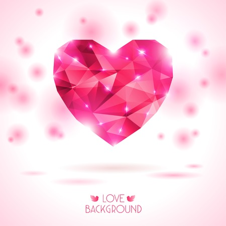 diamond shape: Vector Illustration. Abstract polygonal heart. Love symbol. Lights and pink sparkles. Low-poly colorful style. Romantic background for Valentines day.