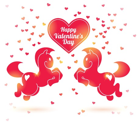 Valentines day vector illustration. Horse in jump. Lights. Invitation or greeting card.