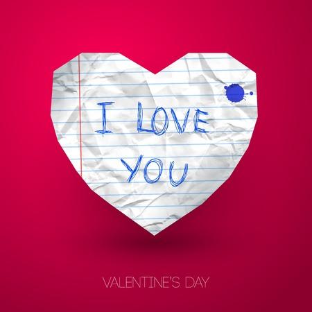 foglio a righe: Illustrazione di vettore. Carta a righe stropicciata. Tema scuola. Il primo amore. Sfondo romantico per San Valentino.