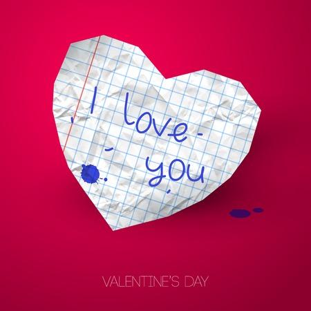 the first love: Ilustraci�n del vector. Arrugado papel cuadrado. Gota de tinta. Tema de la escuela. El primer amor. Fondo rom�ntico para el d�a de San Valent�n. Vectores