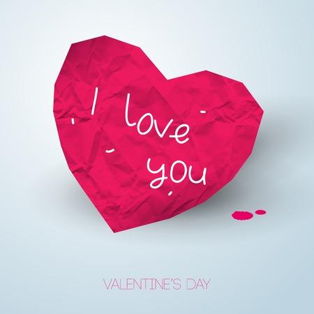the first love: Ilustraci�n del vector. El papel arrugado. Tema de la escuela. El primer amor. Fondo rom�ntico para el d�a de San Valent�n.