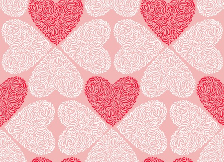 Vector illustration. Abstract floral hearts. Vintage style. Vector
