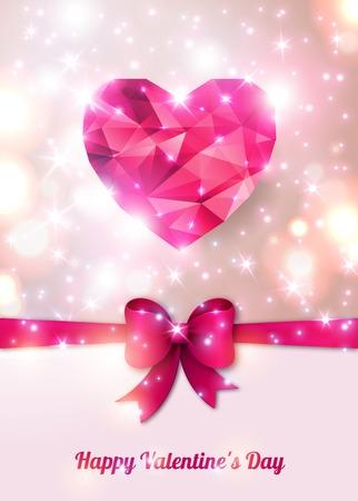 벡터 일러스트 레이 션. 추상 형상 심장, 보석. 저 폴리 화려한 스타일. 발렌타인 데이를위한 로맨틱 한 조명 디자인.