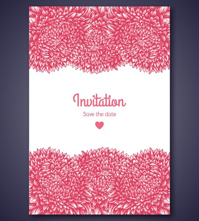 aster: Vector illustration. Great for invitations or announcements. Pink color. Floral pattern. Illustration