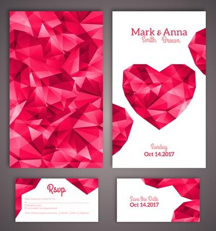 anniversaire: cartes d'invitation de mariage mod�le avec coeur polygonale abstrait. Vector illustration.