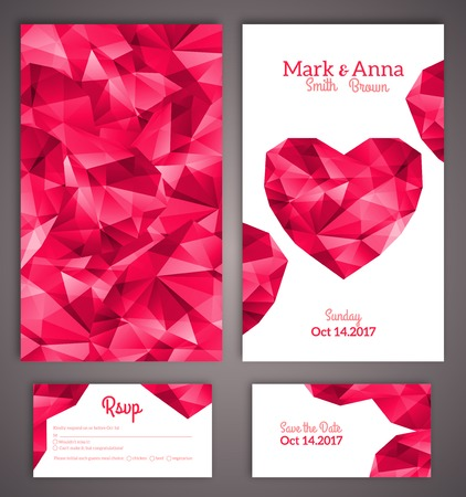 anniversary: Wedding invitation cards template with abstract polygonal heart. Vector illustration. Illustration