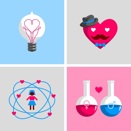 unusual valentine: Science concepts and ideas. Electric light bulb with heart shape filament. Hipster heart smiley wearing hat. Male and female symbols on chemical flasks. Valentines day ideas.