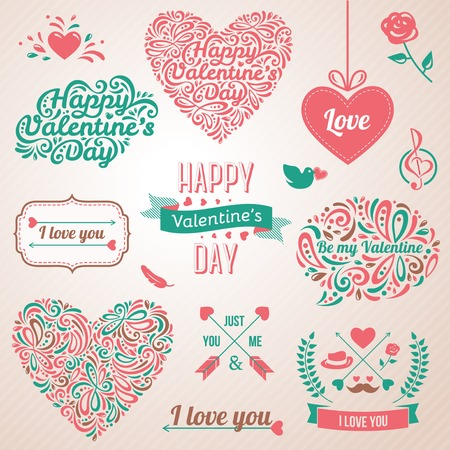 Vector illustration. Typographical Background With Ornaments, Hearts, Ribbon and Arrow. Doodles and curls. Illustration