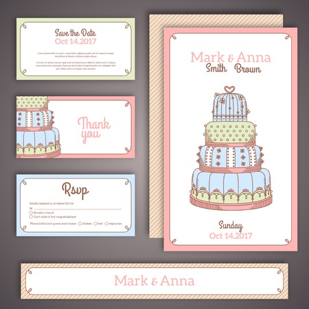 Editable set with cake. Vector illustration. Save the date, RSVP. Vector