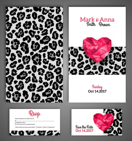 Wedding invitation cards template with abstract polygonal heart. Leopard print. Vector illustration. Vector