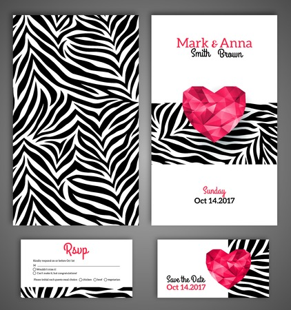 animal print: Wedding invitation cards template with abstract polygonal heart. Zebra print. Vector illustration.