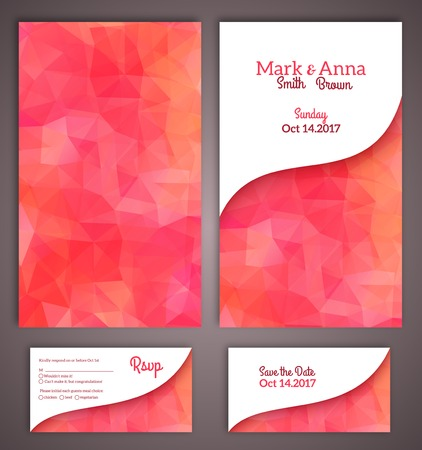 Wedding invitation cards template with abstract polygonal background. Vector illustration. Vector