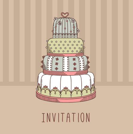 wedding cake illustration: Invitation with wedding cake. Vector illustration. Sweet design