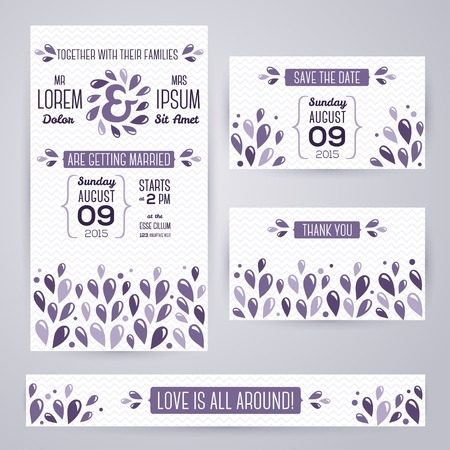 Wedding invitation cards template with abstract violet elements. Vector illustration. Vector