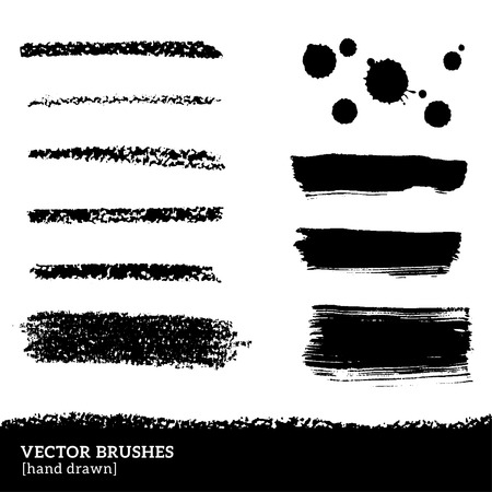 streak: Vector illustration. Grunge ink and paints stains. Black pastel crayons and pencil strokes. Isolated on white background. Abstract design elements, drops. Illustration