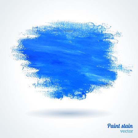 vector illustratie. Verf op geweven papier. Blauwe vlek voor scrapbook elementen. Hipster design elementen. Vector Illustratie