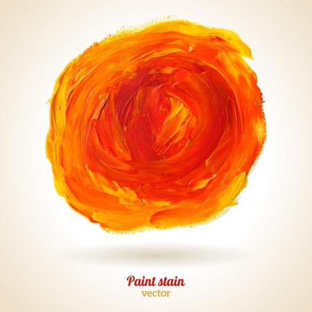 web design concepts: Vector illustration. Orange grunge template. Blobs, stain, paints blot. Composition for scrapbook elements. Brush strokes. Illustration